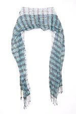 Turquoise Blue Interesting Young Tasselled Ends Artsy Scarf (s35)