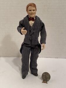 Vintage Artisan Distinguished Gentleman Doll Dressed Dollhouse Miniature 1:12