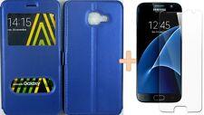 Housse Coque Fenetre + Film Verre Trempé HD Incassable Samsung Galaxy S7