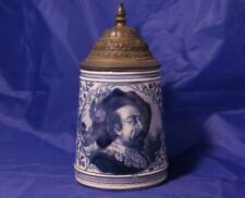 Antique Blue/White Delft Style Porcelain Beer Stein Royal Bonn c.1890s