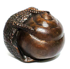"Y5943 - 20 Years OLD 1.8"" Hand Carved Ironwood Netsuke - Snail"