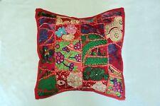 "Handmade Kantha 16"" SQUARE  Cushion Cover Indian Cotton Pillow ( SQ-03)"