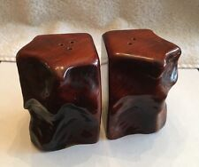 Vintage Carved Wood Mid-Century Salt & Pepper Shakers 2 5/8""