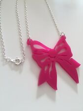 Pink Bow 🎀 Charm Necklace Laser Cut Plastic