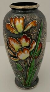 VERY RARE GORHAM STERLING ENAMELED IRIS HAND CHASED RETICULATED BUD VASE 1897