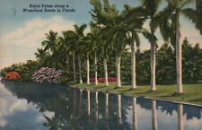 PLEASE READ !!! Waterfront Estate Palms Florida - Old Standard Linen Postcard