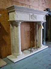 Massive Hand carved Travertine Mantel Column Stone Mantle - Absolutely Stunning