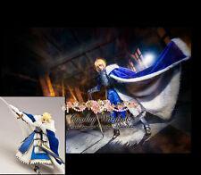 Fate Stay Night Saber Cosplay Costume Cape Blue Knight Nero berber Fleece