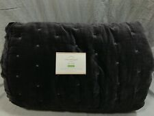 Pottery Barn Charcoal Velvet Tufted King Quilt