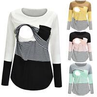 Fashion Women Maternity Casual Long Sleeve Top Patchwork Nursing Blouse T Shirt