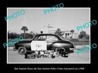 OLD LARGE HISTORIC PHOTO OF SAN ANTONIO TEXAS, THE POLICE CRIME LAB CAR c1960