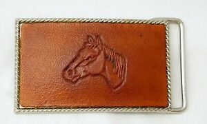 Small Leather Faced BELT BUCKLE - Hand Tooled HORSE HEAD Design