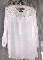 NEW Plus Size 1X White Blouse Lace Crochet Peasant Top Shirt