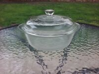 Vtg 1.5 Quart Glass Casserole Round Dish #2600 W/ Pyrex Lid Baking Cooking