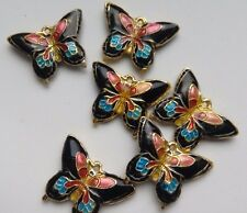 6 Cloisonne Butterfly Beads, Black/Pink/Blue 20mm. Jewellery Making/Sew/Crafts