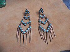 Turquoise & Sterling Silver Petite Point w SS fringe Chandelier Earrings Zuni