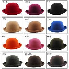 Cute Fashion Vintage Trendy Ladies Women Wool Felt Cloche Derby Bowler Hat Capvs Black