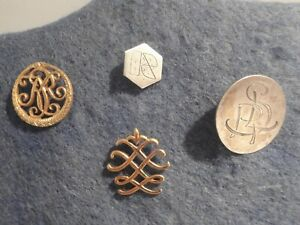4 antique and vintage monogram lapel  pins Swedish sterling silver 925  Sweden