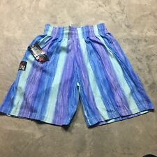 New listing 90s Vtg nos All Over Print Bodybuilding Shorts Surf Striped Sweat Made Usa L