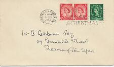"""2414 1952 QEII 1 1/2d + 2 1/2d (2 x) FDC """"WARWICK & LEAMINGTON SPA / POST EARLY"""