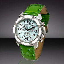 DEDIA Lily M, 6201ML046 Swiss Watch 32 Diamonds, MOP Dial, Green Leather Band