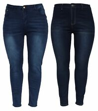 New PLUS SIZE Ladies Womens High Waisted Skinny Stretchy Slim Skinny Fit Jean