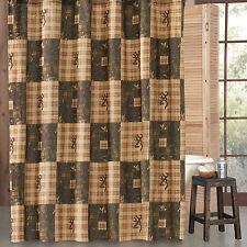 "Browning® Country Buckmark Deer Logo Shower Curtain 72"" x 72""~Hunting Cabin Bath"