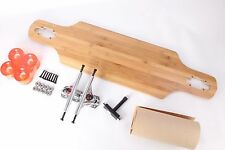 """Bamboo 40"""" Drop Through Longboard With Clear Orange Wheels Complete Kit"""