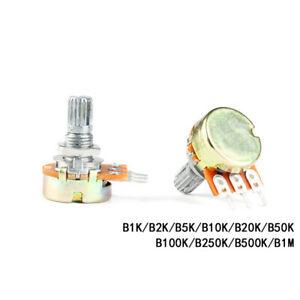 WH148 Linear Mono Potentiometer Shaft 15mm B1K 2K 5K 10K 20K 50K 100K to 1MΩ/Ohm