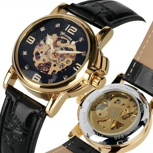 WINNER Women Ladies Automatic Watch Skeleton Wristwatch Hollow Leather Watches