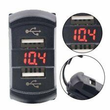 Zócalo 12V De Doble Puerto Cargador USB Voltímetro Led Rojo Balancín Interruptor Panel Coche Barco