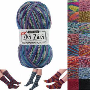 King Cole Zig Zag 4 Ply Sock Yarn In 22 Colours 75% wool