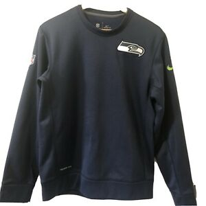 Nike Therma Fit Sweatshirt Seattle Seahawks Small Navy Blue Excellent Condition