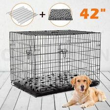 """Portable 42"""" Collapsible Cage Dog Metal Crate Kennel Pet Bed Removable Divider"""