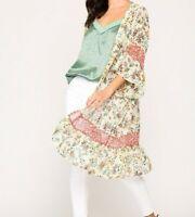 New Gigio By Umgee Kimono L Large Cream Floral Ruffle Prairie Boho Cottagecore