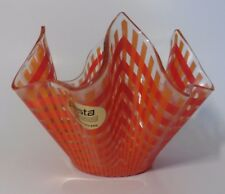 VINTAGE GLASS HANDKERCHIEF BOWL RETRO ORANGE FIESTA GLASS SWEET BONBON DISH