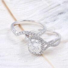 Wedding Ring 14K White Gold Finish 3.00Ct Cushion Cut Diamond Halo Engagement