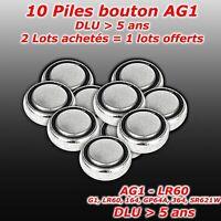 Lot 10 x pile bouton AG1 G1 LR60 164 GP64A 364 SR621W   2 lots = 3eme lot offert