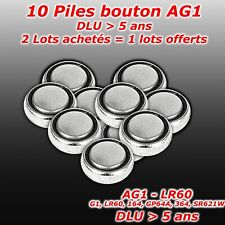 Lot 10 x pile bouton AG1 G1 LR60 164 GP64A 364 SR621W   2 lots = 3eme lot offert