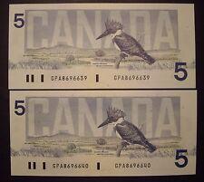 Canada 2 Consecutive 1986 BC-56c $5 Notes GPA8696639 - 40 - GemUnc