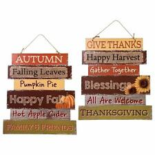 Distressed FALL AUTUMN Blessings THANKSGIVING Wall Hanging Sign Door Porch Decor