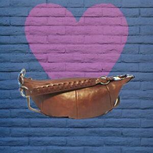Authentic Yves Saint Laurent Vintage Brown Saddle Soft Leather Equestrian Bag