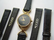 Strap Black Or Brown No Buckle Ladies New Gucci 6000 L Leather Watch