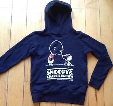 UNIQLO PEANUTS Boys Girls Youth Large Hoodie Snoopy Charlie Brown Navy Blue EUC