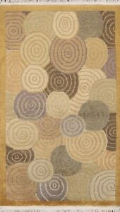 Circle Design Vegetable Dye Nepalese Oriental Area Rug Hand-knotted Wool 3x5 ft