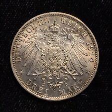 1914 D 3 Mark - Germany German States - Bavaria - Bayern - SILVER - F1666