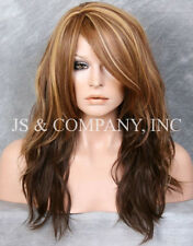 HEAT SAFE Long Wavy Layered Bangs Brown Blonde mix Wig WBSY 8-12