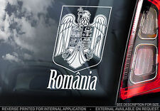 Romania - Car Window Sticker - ROMÂNIA Flag Sign Art -Coat of Arms Wall Football