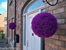 2 Best Artificial 30cm Purple Heather Topiary Balls Lavender Flower Basket Grass