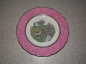 """VINTAGE  Handpainted Gray's Pottery 10 1/2"""" FOX HUNT Plate  ~ ENGLAND ~"""